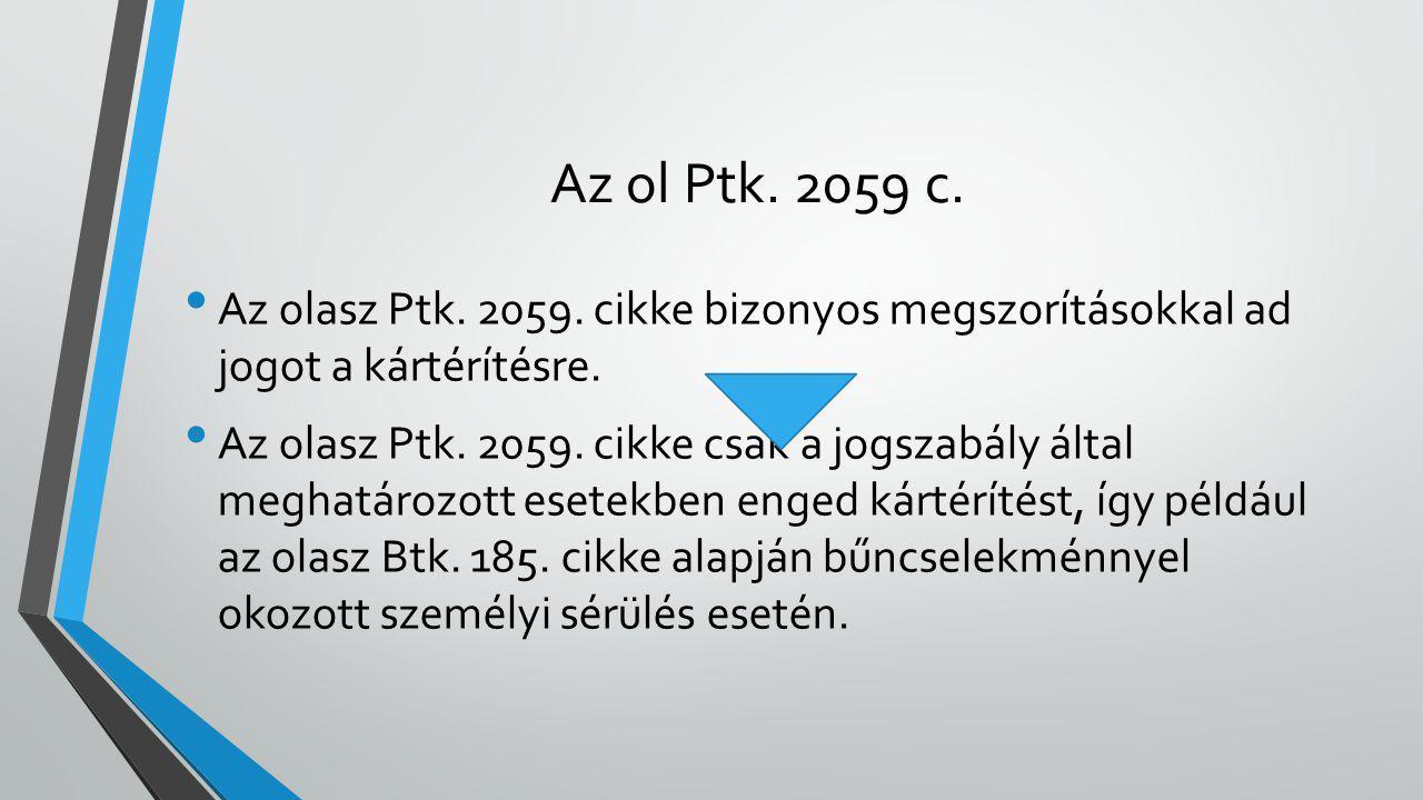Az ol Ptk. 2059 c. Az olasz Ptk. 2059. cikke bizonyos megszorításokkal ad jogot a kártérítésre. Az olasz Ptk. 2059. cikke csak a jogszabály által megh