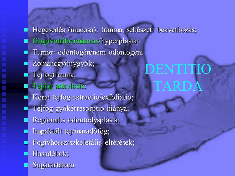 DENTITIO TARDA Hegesedés (mucosa): trauma, sebészeti beavatkozás; Hegesedés (mucosa): trauma, sebészeti beavatkozás; Gingivofribromatosis/hyperplasia;