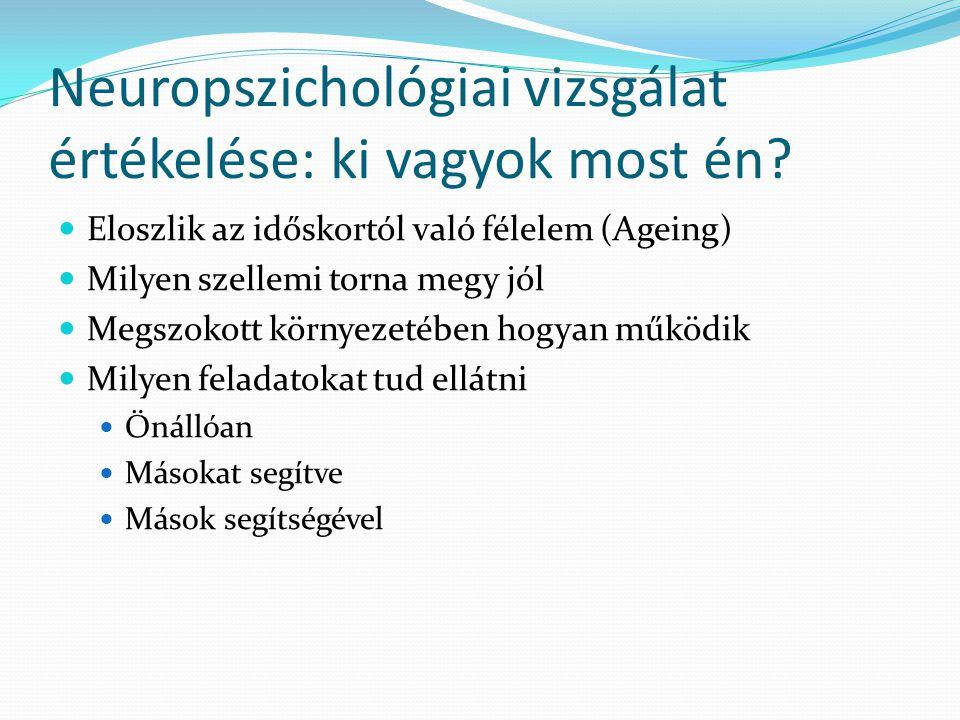 Neuropszichológiai vizsgálat értékelése: ki vagyok most én? Eloszlik az időskortól való félelem (Ageing) Milyen szellemi torna megy jól Megszokott kör