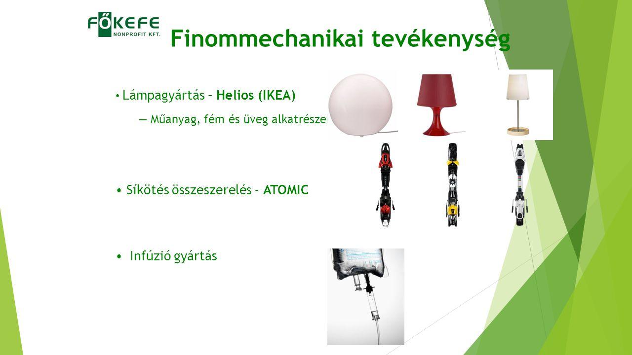 Finommechanikai tevékenység Lámpagyártás – Helios (IKEA) – Műanyag, fém és üveg alkatrészekből Síkötés összeszerelés - ATOMIC Infúzió gyártás
