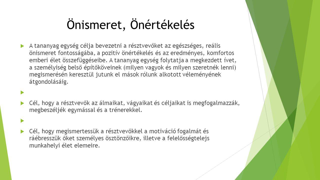 Önismeret, Önértékelés  A tananyag egység célja bevezetni a résztvevőket az egészséges, reális önismeret fontosságába, a pozitív önértékelés és az er