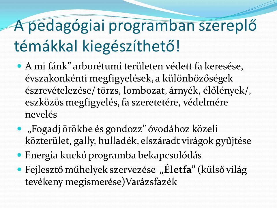 A pedagógiai programban szereplő témákkal kiegészíthető.