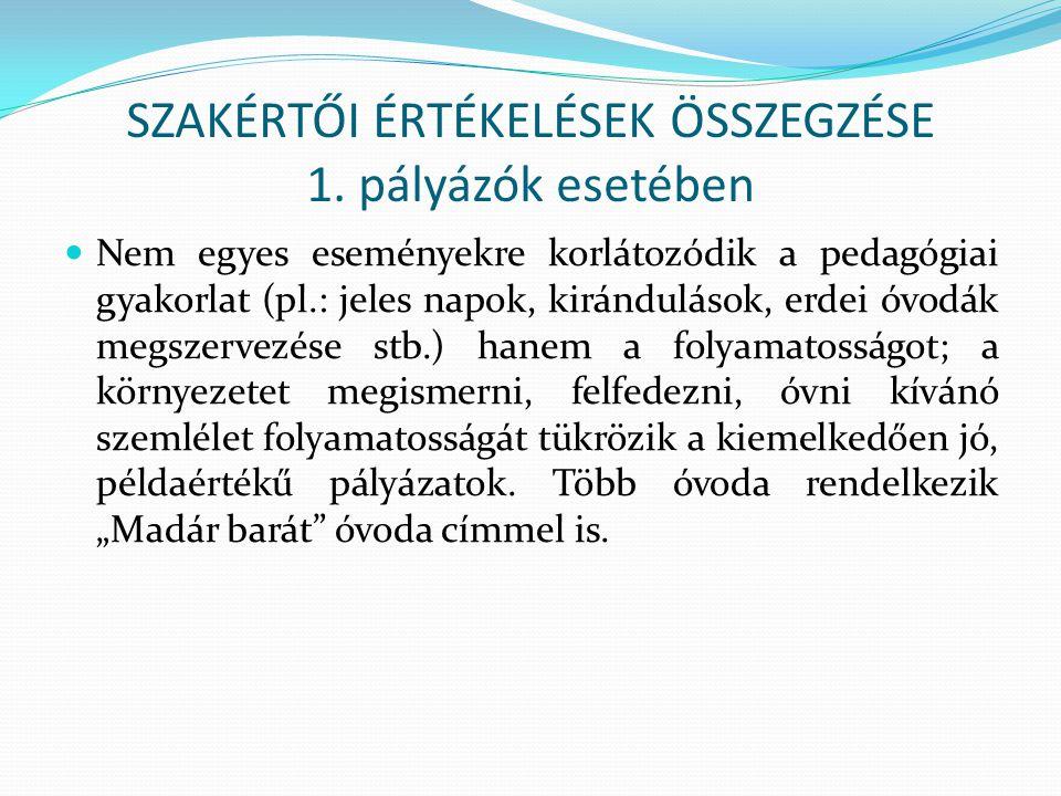 SZAKÉRTŐI ÉRTÉKELÉSEK ÖSSZEGZÉSE 1.