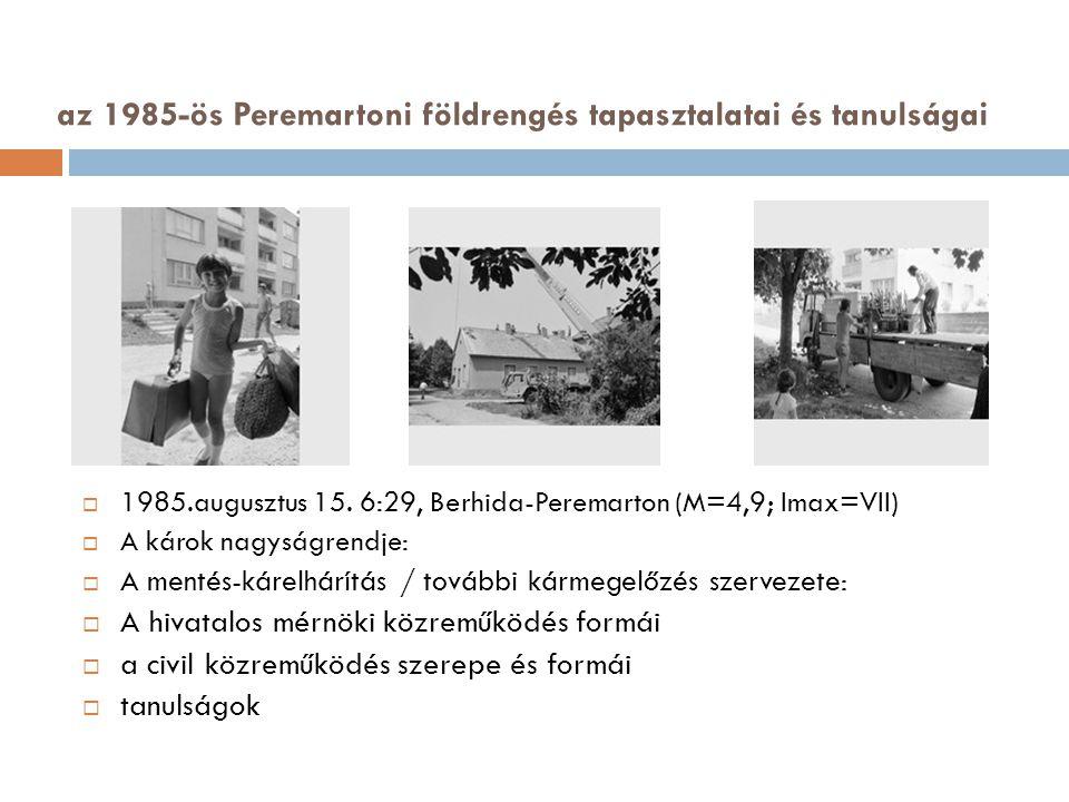 az 1985-ös Peremartoni földrengés tapasztalatai és tanulságai  1985.augusztus 15.