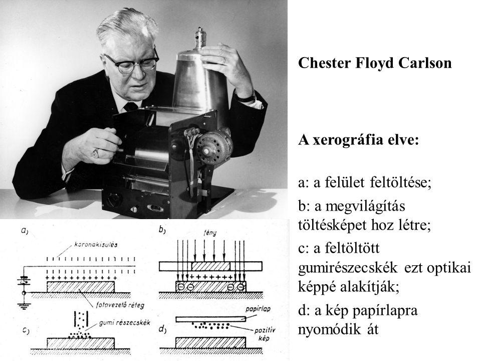 Chester Floyd Carlson A xerográfia elve: a: a felület feltöltése; b: a megvilágítás töltésképet hoz létre; c: a feltöltött gumirészecskék ezt optikai képpé alakítják; d: a kép papírlapra nyomódik át