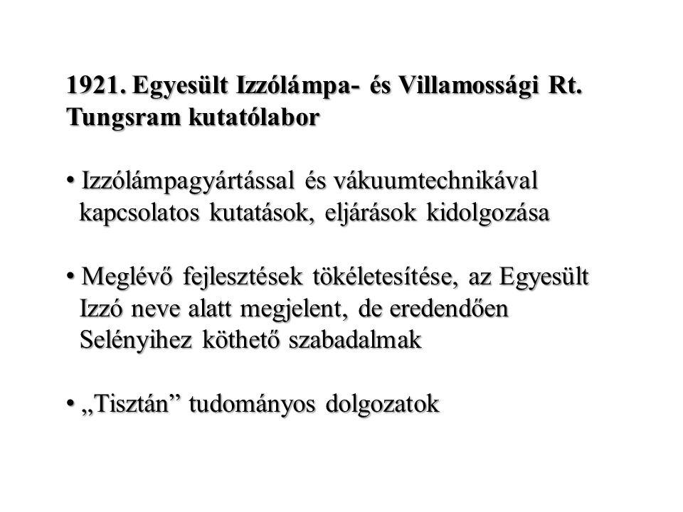 1921. Egyesült Izzólámpa- és Villamossági Rt.