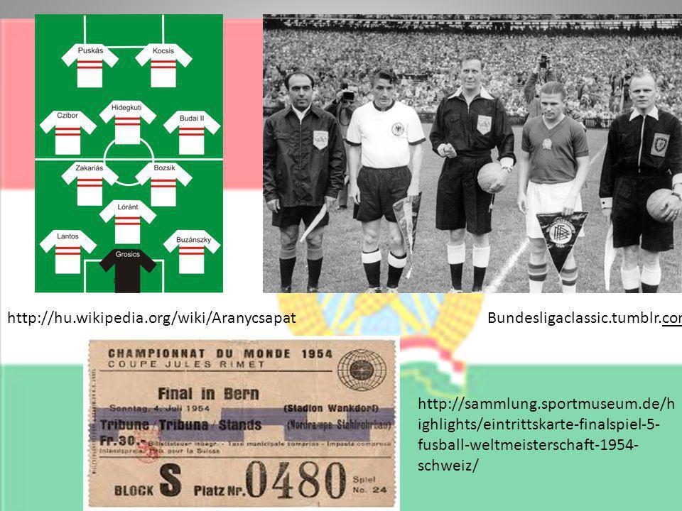 Bundesligaclassic.tumblr.comhttp://hu.wikipedia.org/wiki/Aranycsapat http://sammlung.sportmuseum.de/h ighlights/eintrittskarte-finalspiel-5- fusball-weltmeisterschaft-1954- schweiz/
