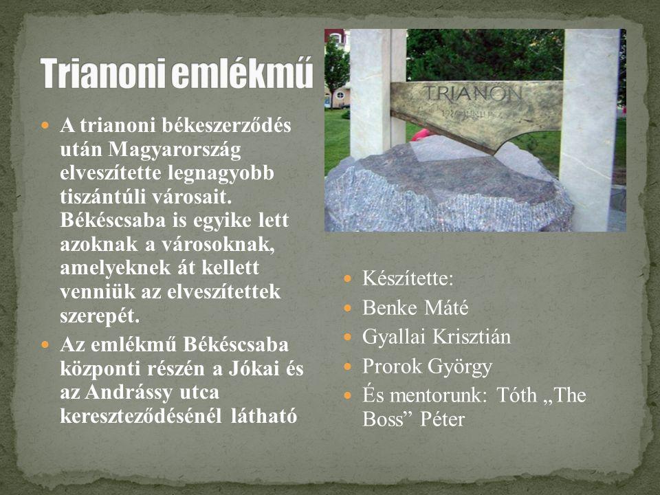 A trianoni békeszerződés után Magyarország elveszítette legnagyobb tiszántúli városait. Békéscsaba is egyike lett azoknak a városoknak, amelyeknek át