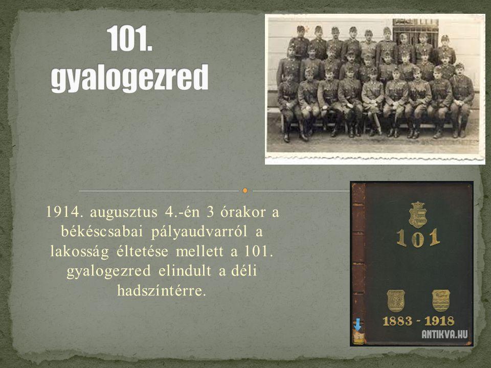 1914. augusztus 4.-én 3 órakor a békéscsabai pályaudvarról a lakosság éltetése mellett a 101. gyalogezred elindult a déli hadszíntérre.