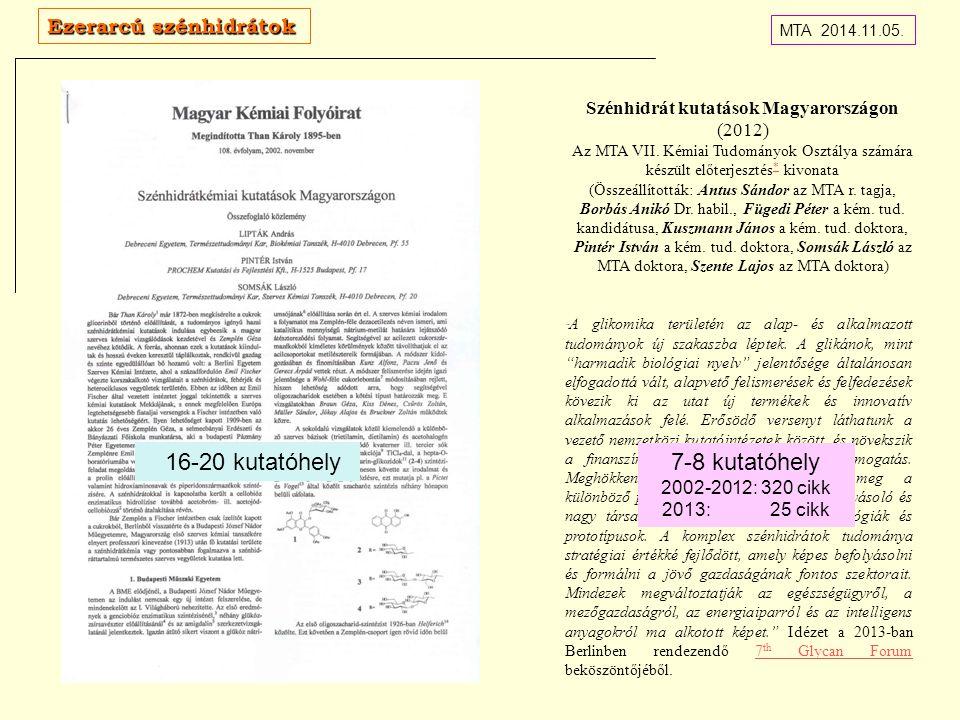 Szénhidrát kutatások Magyarországon (2012) Az MTA VII. Kémiai Tudományok Osztálya számára készült előterjesztés * kivonata * (Összeállították: Antus S