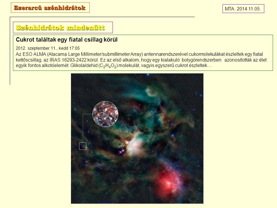 Szénhidrátok mindenütt Cukrot találtak egy fiatal csillag körül 2012.
