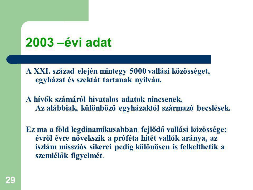 29 2003 –évi adat A XXI.