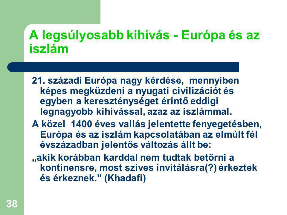 38 A legsúlyosabb kihívás - Európa és az iszlám 21.