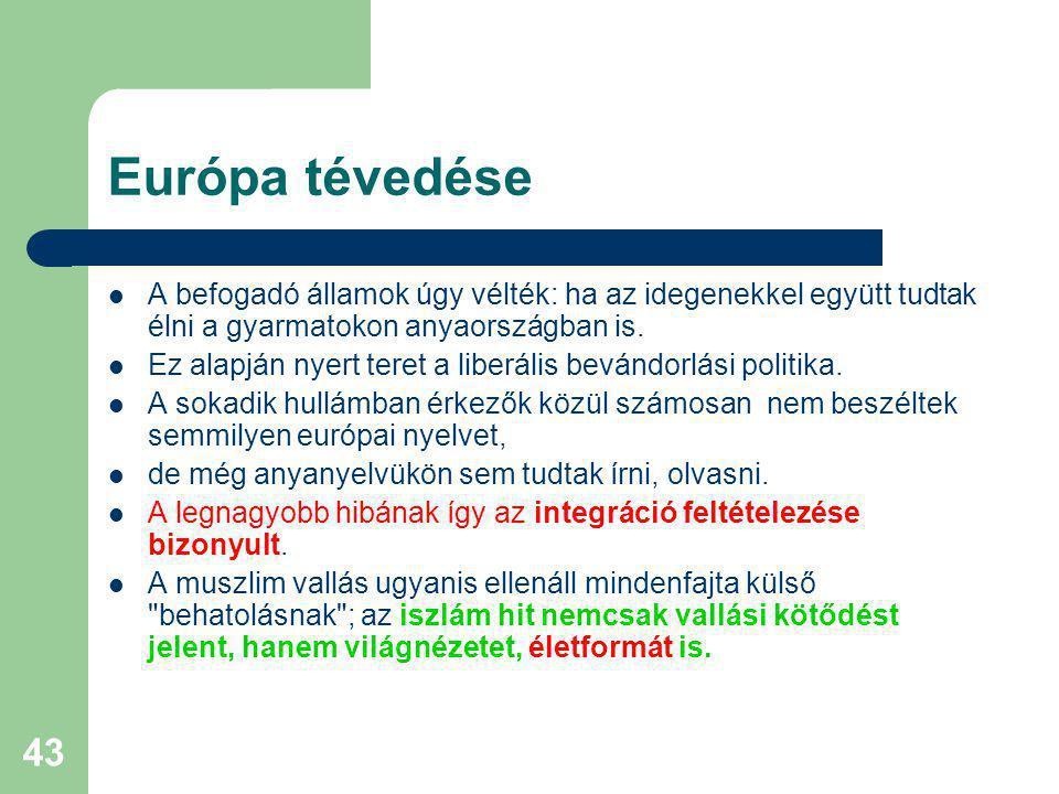 43 Európa tévedése A befogadó államok úgy vélték: ha az idegenekkel együtt tudtak élni a gyarmatokon anyaországban is.