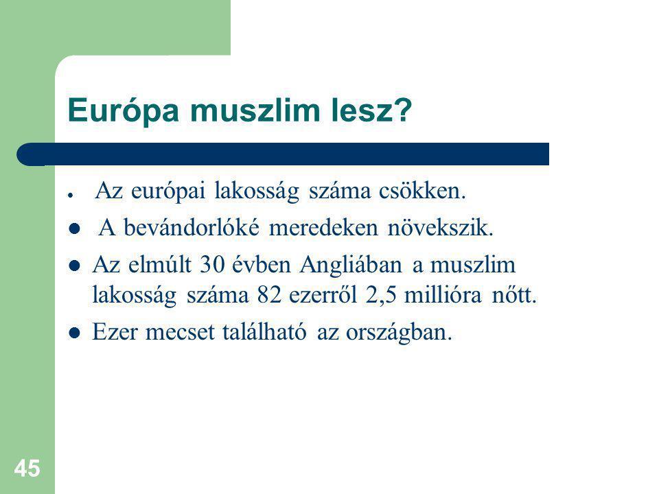 45 Európa muszlim lesz.Az európai lakosság száma csökken.