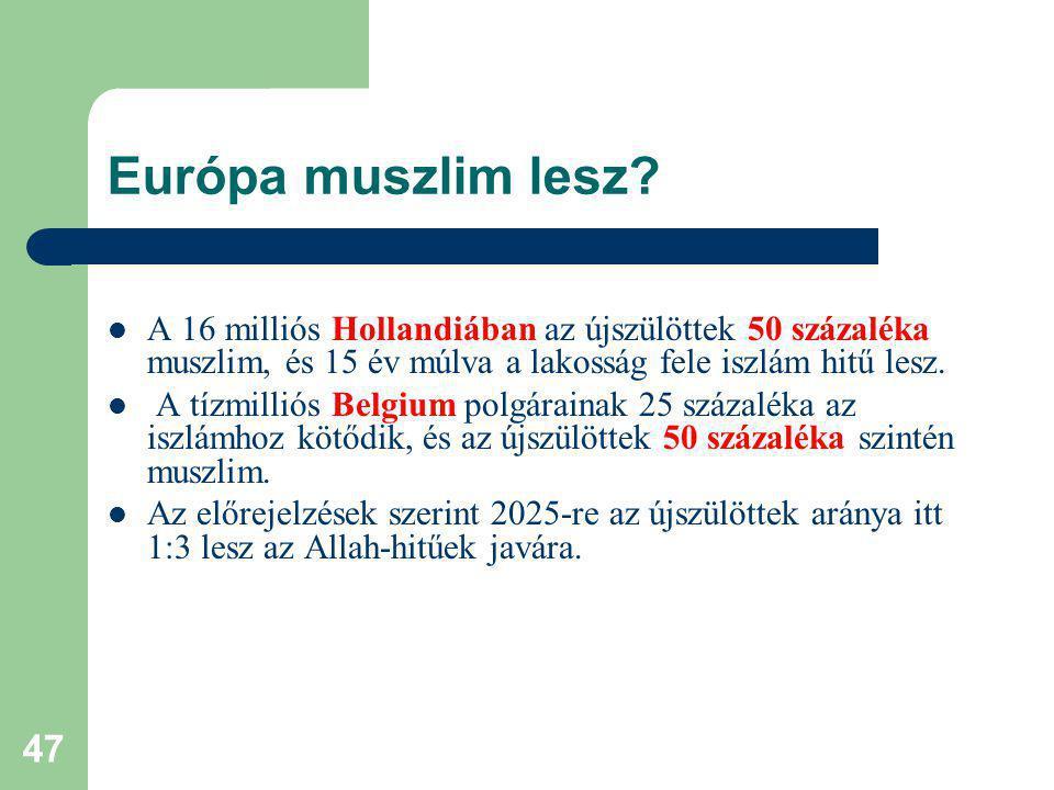 47 Európa muszlim lesz.