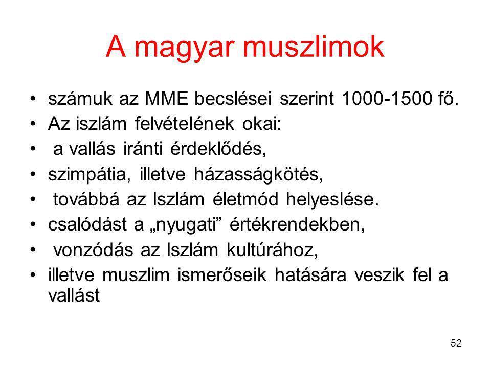 52 A magyar muszlimok számuk az MME becslései szerint 1000-1500 fő.