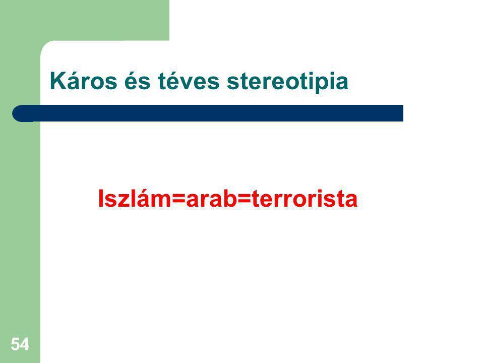 54 Káros és téves stereotipia Iszlám=arab=terrorista