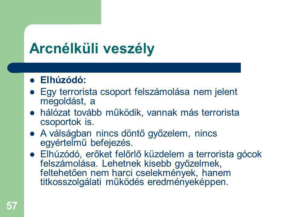 57 Arcnélküli veszély Elhúzódó: Egy terrorista csoport felszámolása nem jelent megoldást, a hálózat tovább működik, vannak más terrorista csoportok is.