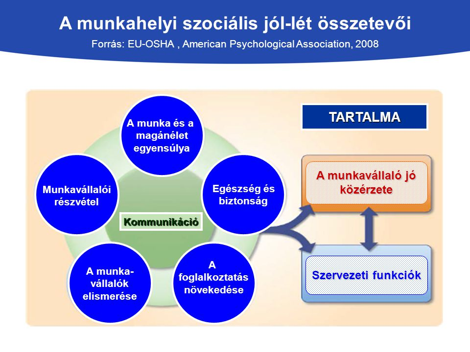 A munkahelyi szociális jól-lét összetevői Forrás: EU-OSHA, American Psychological Association, 2008 Egészség és biztonság A munka és a magánélet egyen