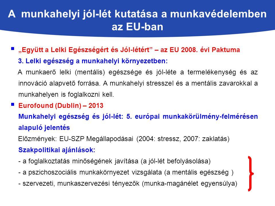 """A munkahelyi jól-lét kutatása a munkavédelemben az EU-ban  """"Együtt a Lelki Egészségért és Jól-létért"""" – az EU 2008. évi Paktuma 3. Lelki egészség a m"""