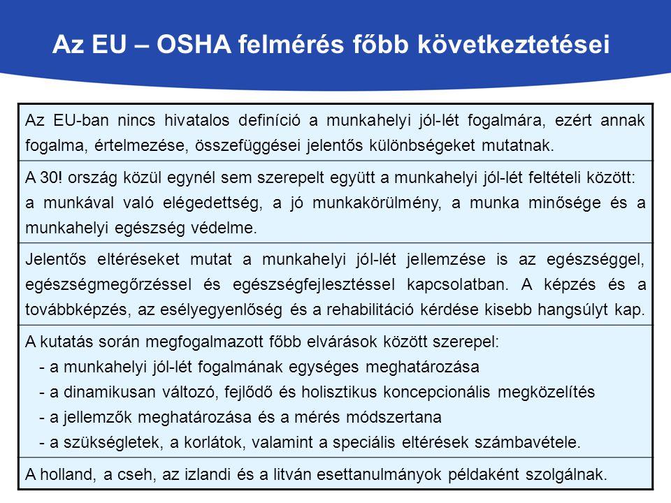 Az EU – OSHA felmérés főbb következtetései Az EU-ban nincs hivatalos definíció a munkahelyi jól-lét fogalmára, ezért annak fogalma, értelmezése, összefüggései jelentős különbségeket mutatnak.
