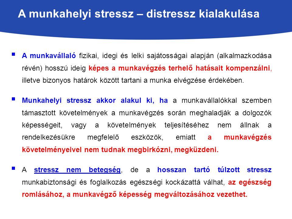 A munkahelyi stressz – distressz kialakulása  A munkavállaló fizikai, idegi és lelki sajátosságai alapján (alkalmazkodása révén) hosszú ideig képes a munkavégzés terhelő hatásait kompenzálni, illetve bizonyos határok között tartani a munka elvégzése érdekében.
