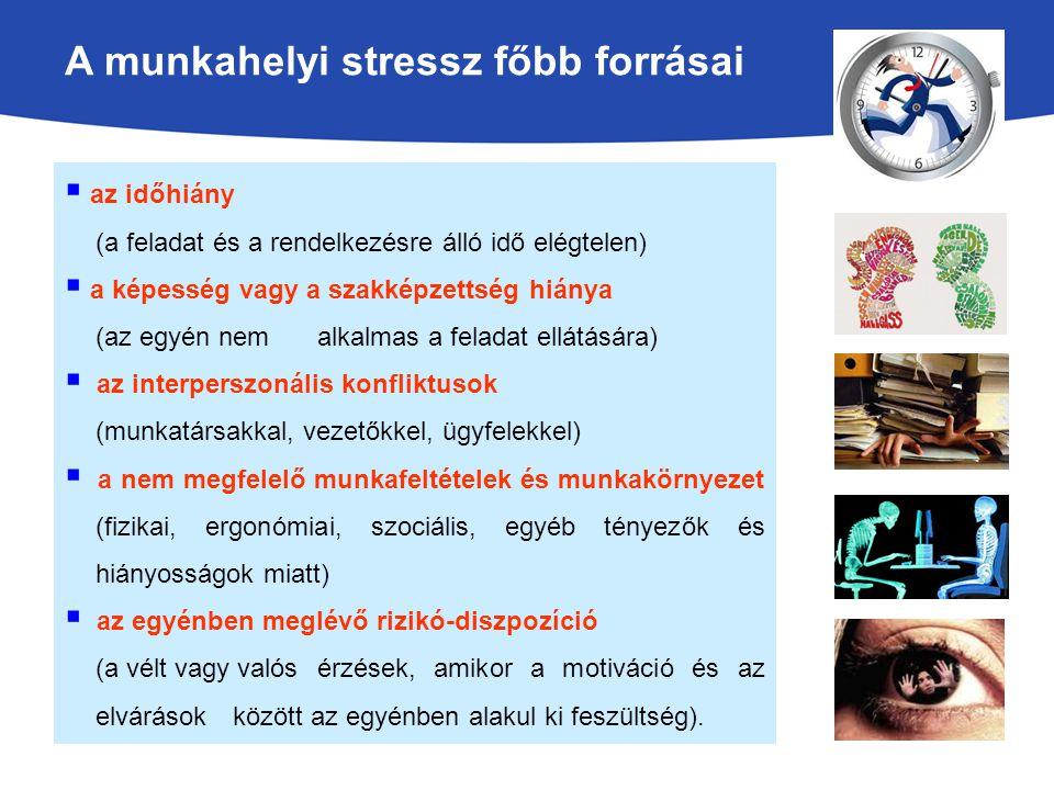 A munkahelyi stressz főbb forrásai  az időhiány (a feladat és a rendelkezésre álló idő elégtelen)  a képesség vagy a szakképzettség hiánya (az egyén nem alkalmas a feladat ellátására)  az interperszonális konfliktusok (munkatársakkal, vezetőkkel, ügyfelekkel)  a nem megfelelő munkafeltételek és munkakörnyezet (fizikai, ergonómiai, szociális, egyéb tényezők és hiányosságok miatt)  az egyénben meglévő rizikó-diszpozíció (a vélt vagy valós érzések, amikor a motiváció és az elvárások között az egyénben alakul ki feszültség).