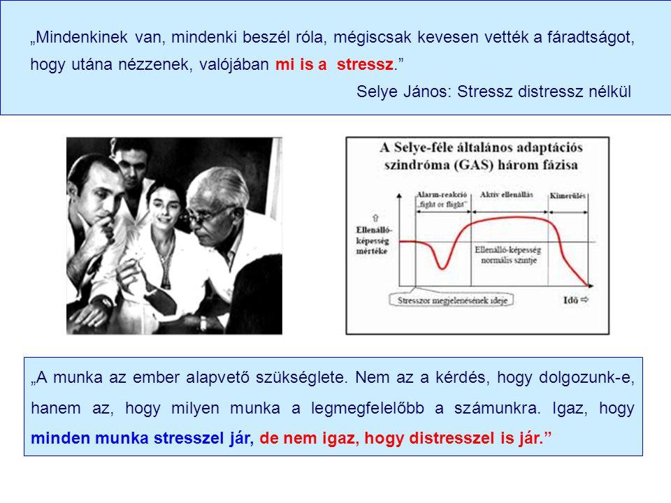"""""""Mindenkinek van, mindenki beszél róla, mégiscsak kevesen vették a fáradtságot, hogy utána nézzenek, valójában mi is a stressz. Selye János: Stressz distressz nélkül """"A munka az ember alapvető szükséglete."""