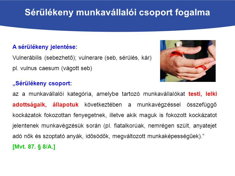 Sérülékeny munkavállalói csoport fogalma A sérülékeny jelentése: Vulnerábilis (sebezhető); vulnerare (seb, sérülés, kár) pl. vulnus caesum (vágott seb