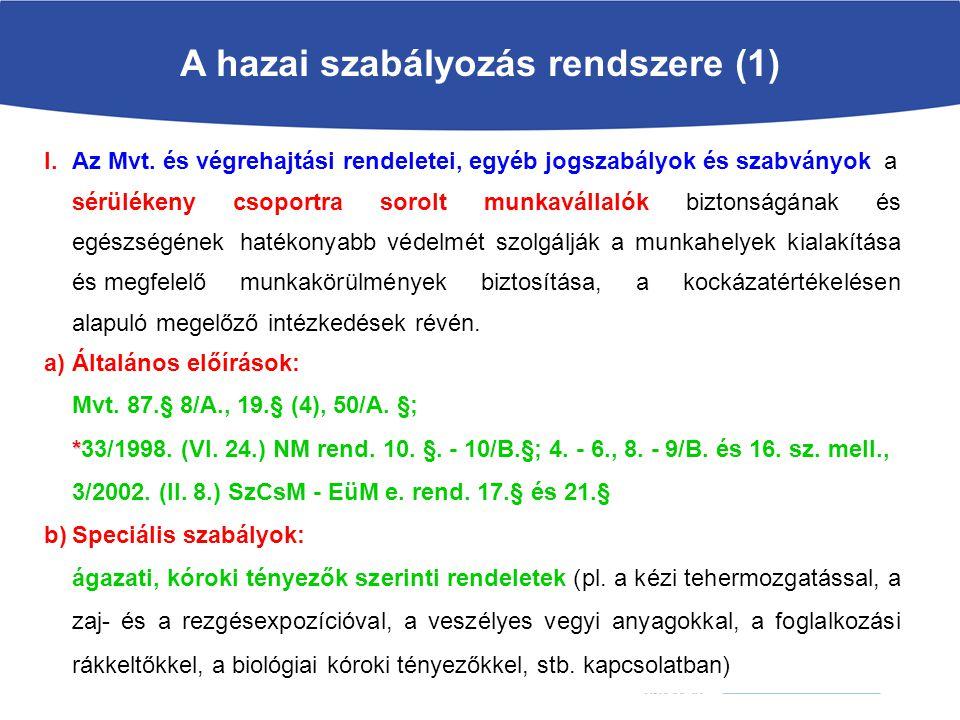 A hazai szabályozás rendszere (1) I.Az Mvt.