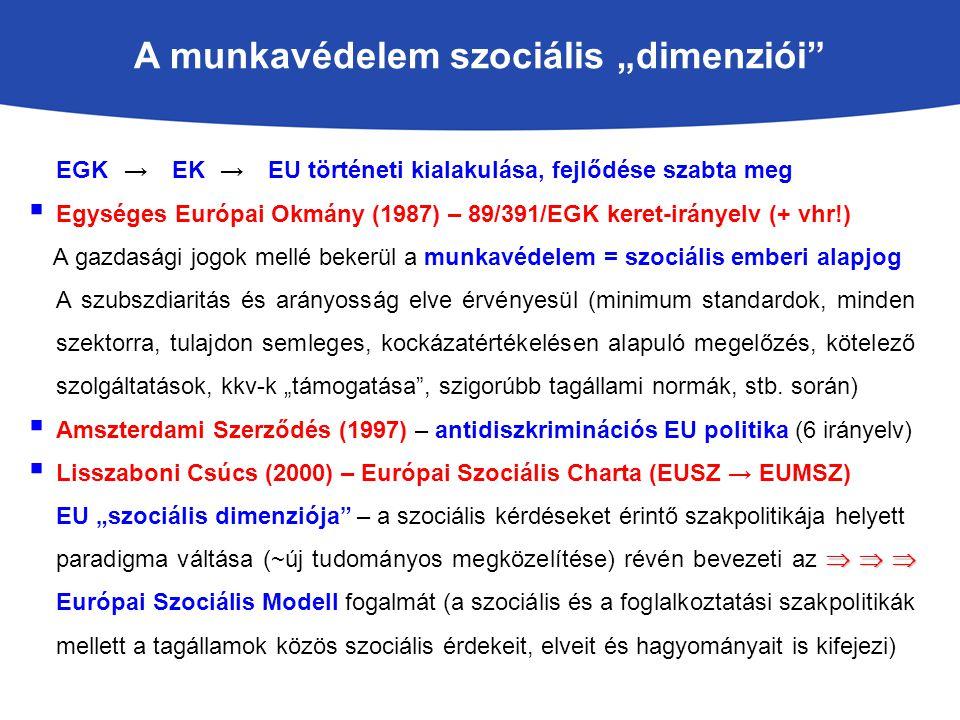 """A munkavédelem szociális """"dimenziói EGK → EK → EU történeti kialakulása, fejlődése szabta meg  Egységes Európai Okmány (1987) – 89/391/EGK keret-irányelv (+ vhr!) A gazdasági jogok mellé bekerül a munkavédelem = szociális emberi alapjog A szubszdiaritás és arányosság elve érvényesül (minimum standardok, minden szektorra, tulajdon semleges, kockázatértékelésen alapuló megelőzés, kötelező szolgáltatások, kkv-k """"támogatása , szigorúbb tagállami normák, stb."""