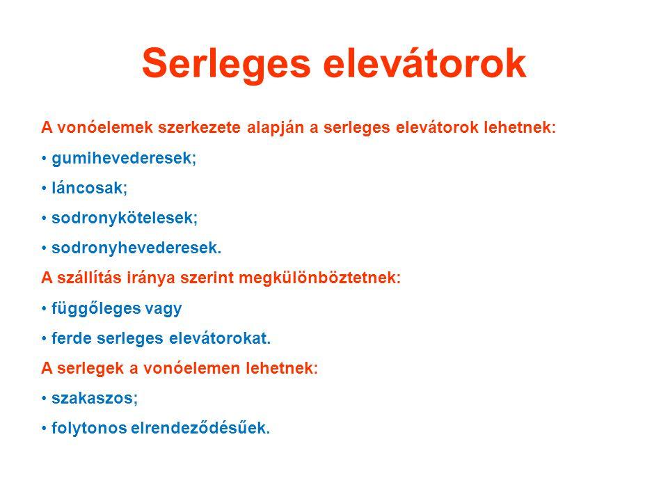 Serleges elevátorok A vonóelemek szerkezete alapján a serleges elevátorok lehetnek: gumihevederesek; láncosak; sodronykötelesek; sodronyhevederesek. A