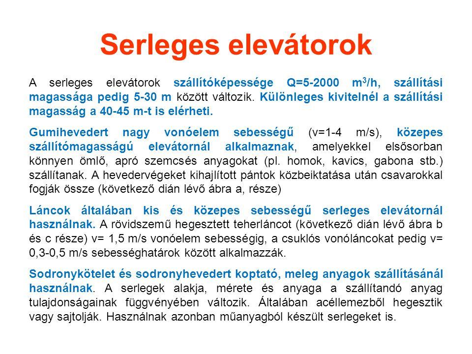 Serleges elevátorok A serleges elevátorok szállítóképessége Q=5-2000 m 3 /h, szállítási magassága pedig 5-30 m között változik. Különleges kivitelnél