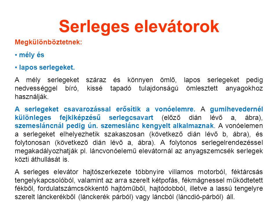 Serleges elevátorok Megkülönböztetnek: mély és lapos serlegeket. A mély serlegeket száraz és könnyen ömlő, lapos serlegeket pedig nedvességgel bíró, k