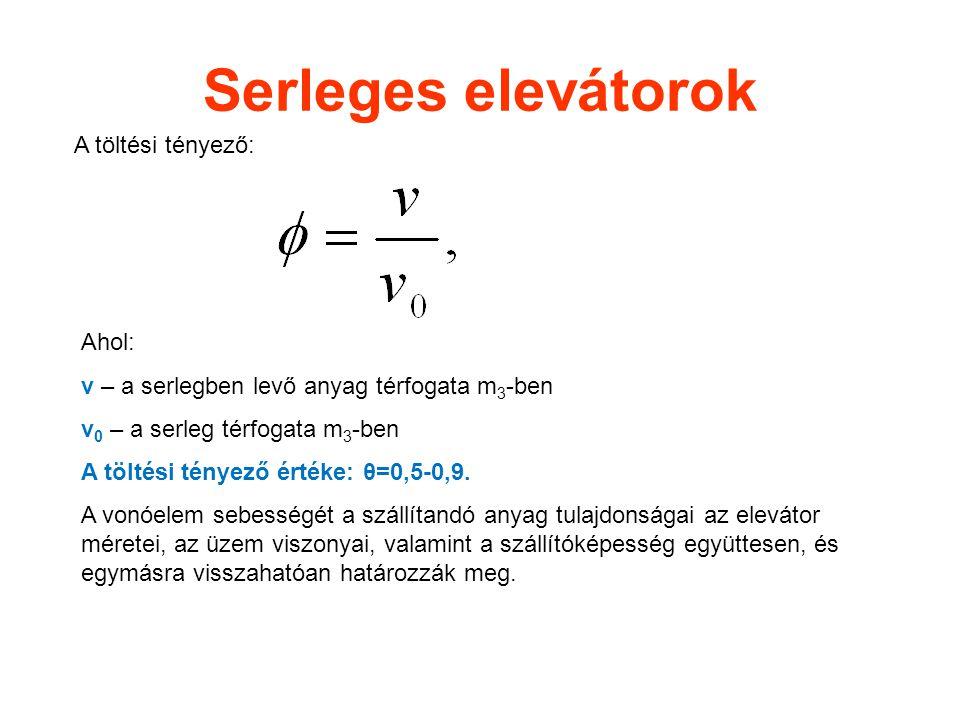 Serleges elevátorok A töltési tényező: Ahol: v – a serlegben levő anyag térfogata m 3 -ben v 0 – a serleg térfogata m 3 -ben A töltési tényező értéke: