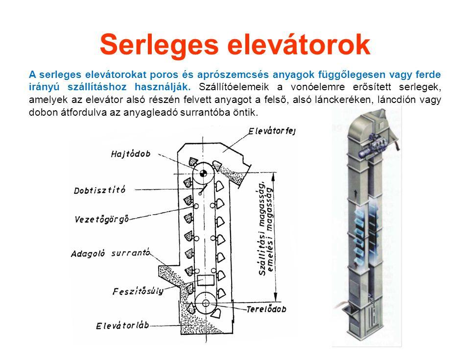Serleges elevátorok A serleges elevátorokat poros és aprószemcsés anyagok függőlegesen vagy ferde irányú szállításhoz használják. Szállítóelemeik a vo