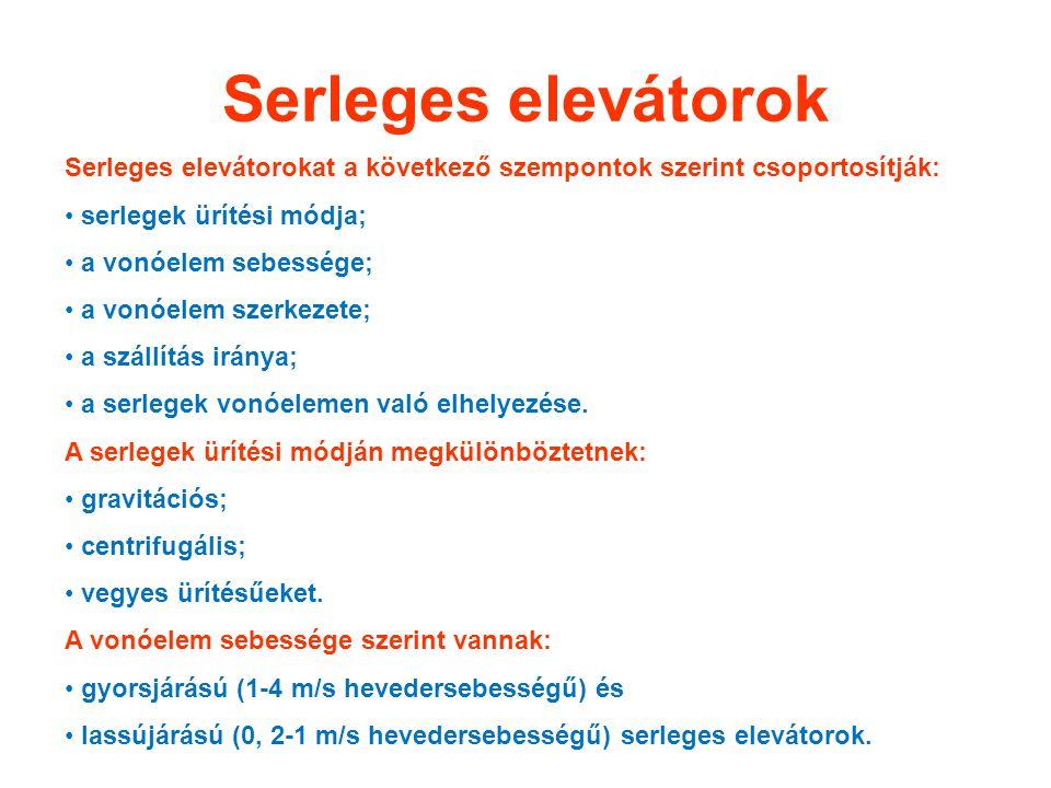 Serleges elevátorok Serleges elevátorokat a következő szempontok szerint csoportosítják: serlegek ürítési módja; a vonóelem sebessége; a vonóelem szer