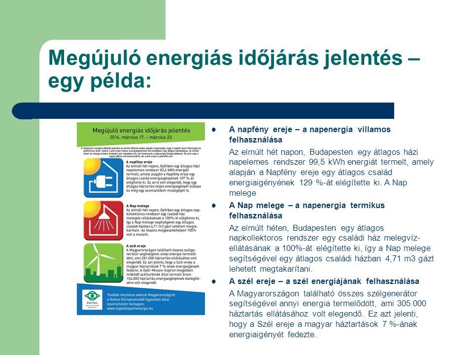 Megújuló energiás időjárás jelentés – egy példa: A napfény ereje – a napenergia villamos felhasználása Az elmúlt hét napon, Budapesten egy átlagos házi napelemes rendszer 99,5 kWh energiát termelt, amely alapján a Napfény ereje egy átlagos család energiaigényének 129 %-át elégítette ki.