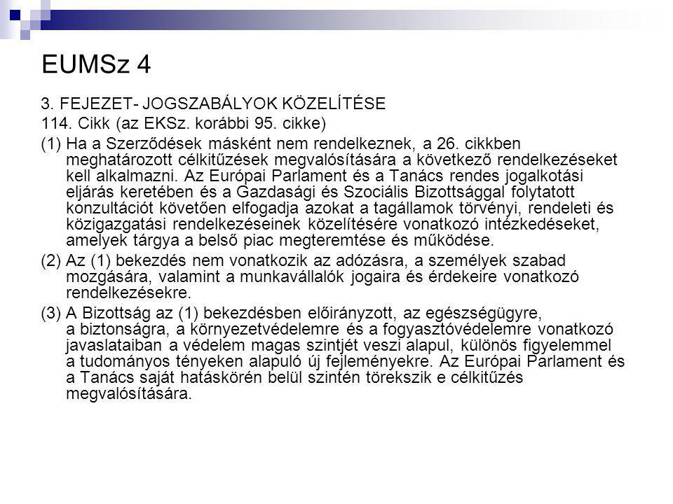 EUMSz 4 3. FEJEZET- JOGSZABÁLYOK KÖZELÍTÉSE 114. Cikk (az EKSz.