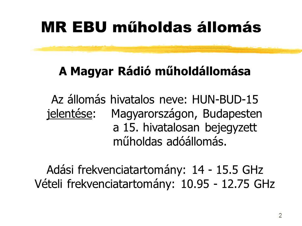 2 MR EBU műholdas állomás A Magyar Rádió műholdállomása Az állomás hivatalos neve: HUN-BUD-15 jelentése: Magyarországon, Budapesten a 15. hivatalosan