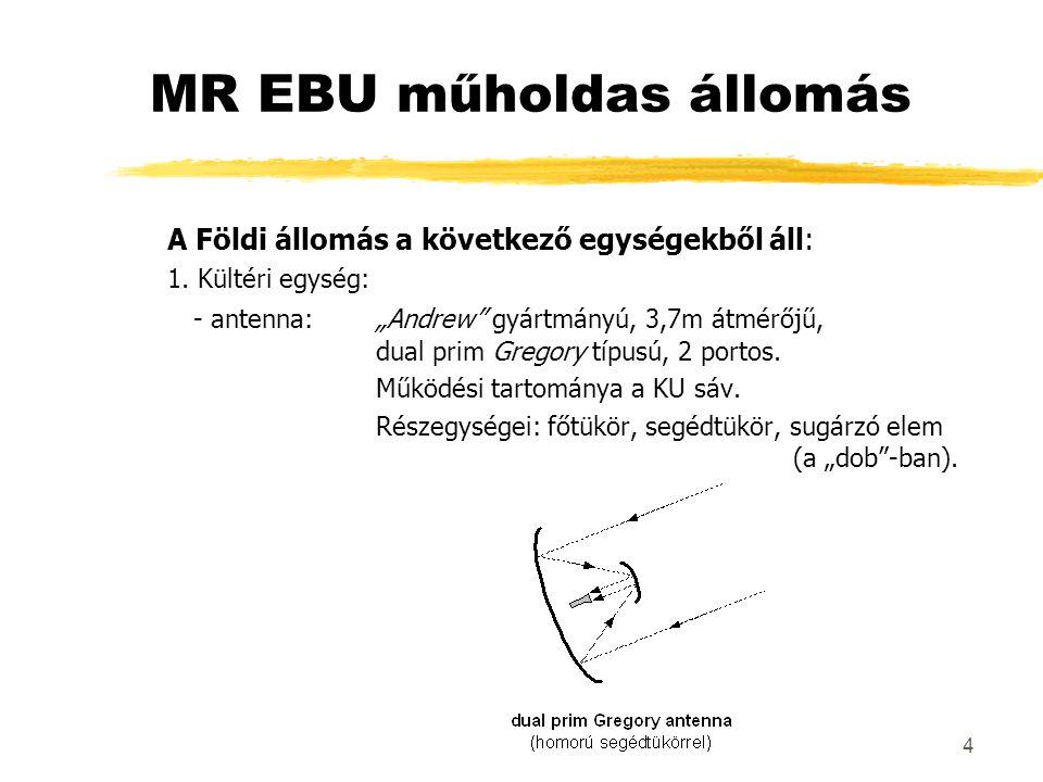 """4 MR EBU műholdas állomás A Földi állomás a következő egységekből áll: 1. Kültéri egység: - antenna:""""Andrew"""" gyártmányú, 3,7m átmérőjű, dual prim Greg"""