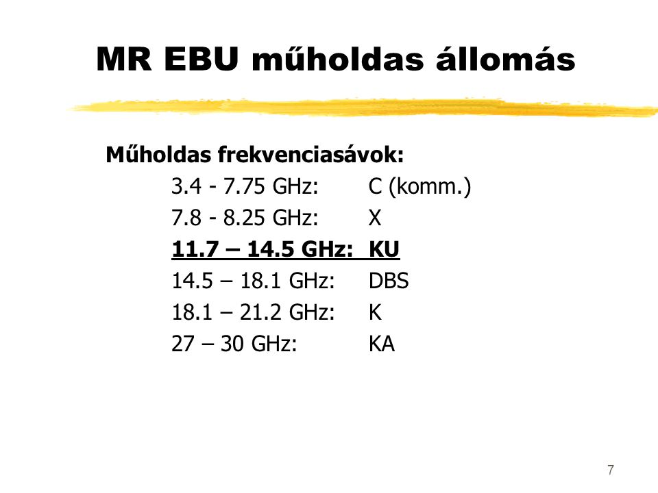 7 Műholdas frekvenciasávok: 3.4 - 7.75 GHz:C (komm.) 7.8 - 8.25 GHz:X 11.7 – 14.5 GHz:KU 14.5 – 18.1 GHz:DBS 18.1 – 21.2 GHz:K 27 – 30 GHz:KA MR EBU műholdas állomás