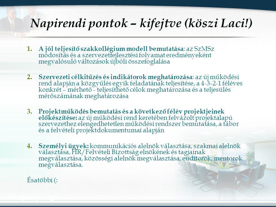 Company Logo Napirendi pontok – kifejtve (köszi Laci!) 1.