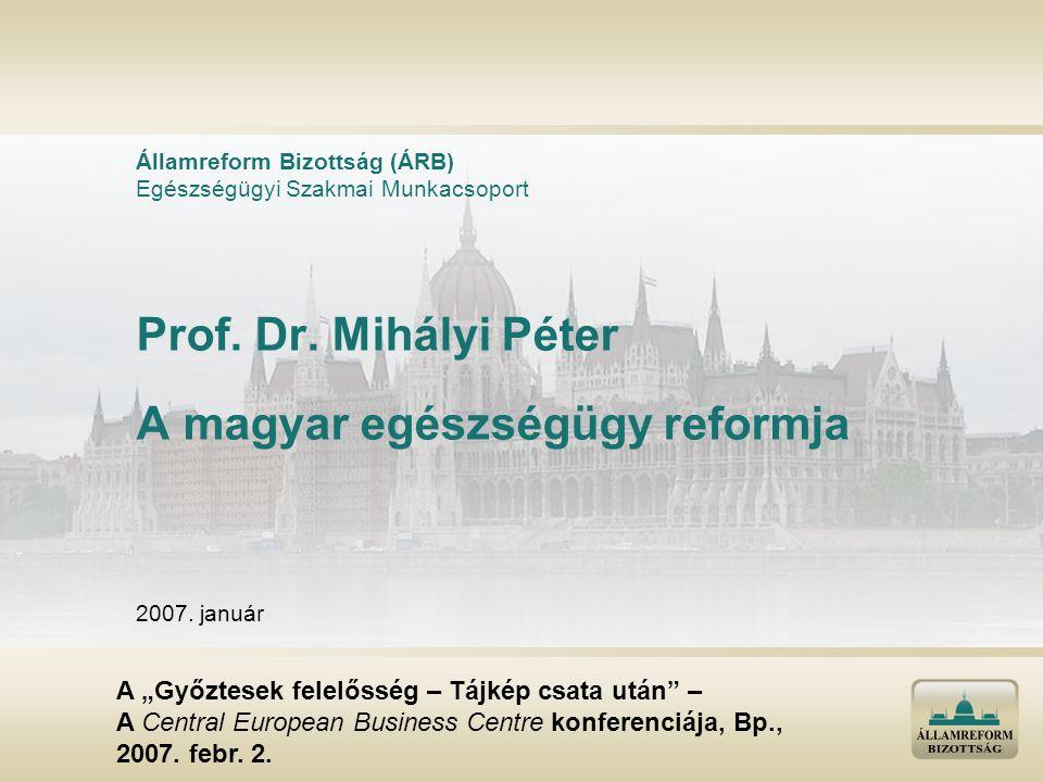 """Prof. Dr. Mihályi Péter A magyar egészségügy reformja Államreform Bizottság (ÁRB) Egészségügyi Szakmai Munkacsoport 2007. január A """"Győztesek felelőss"""