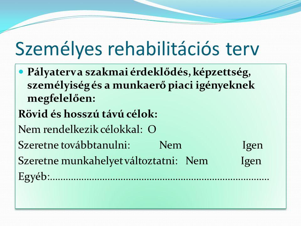 Személyes rehabilitációs terv Pályaterv a szakmai érdeklődés, képzettség, személyiség és a munkaerő piaci igényeknek megfelelően: Rövid és hosszú távú