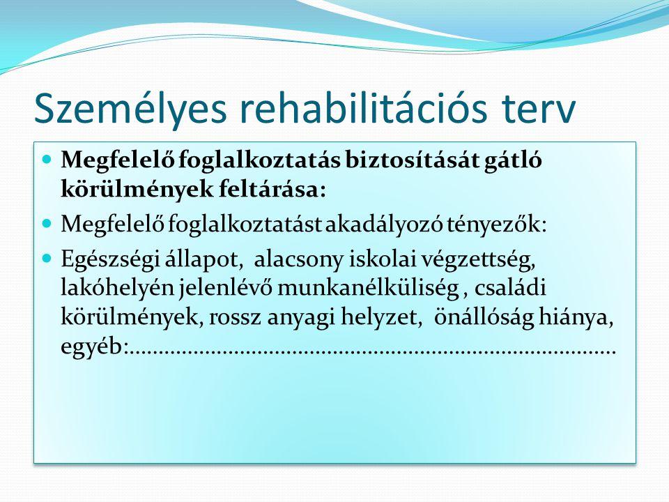 Személyes rehabilitációs terv Megfelelő foglalkoztatás biztosítását gátló körülmények feltárása: Megfelelő foglalkoztatást akadályozó tényezők: Egészs