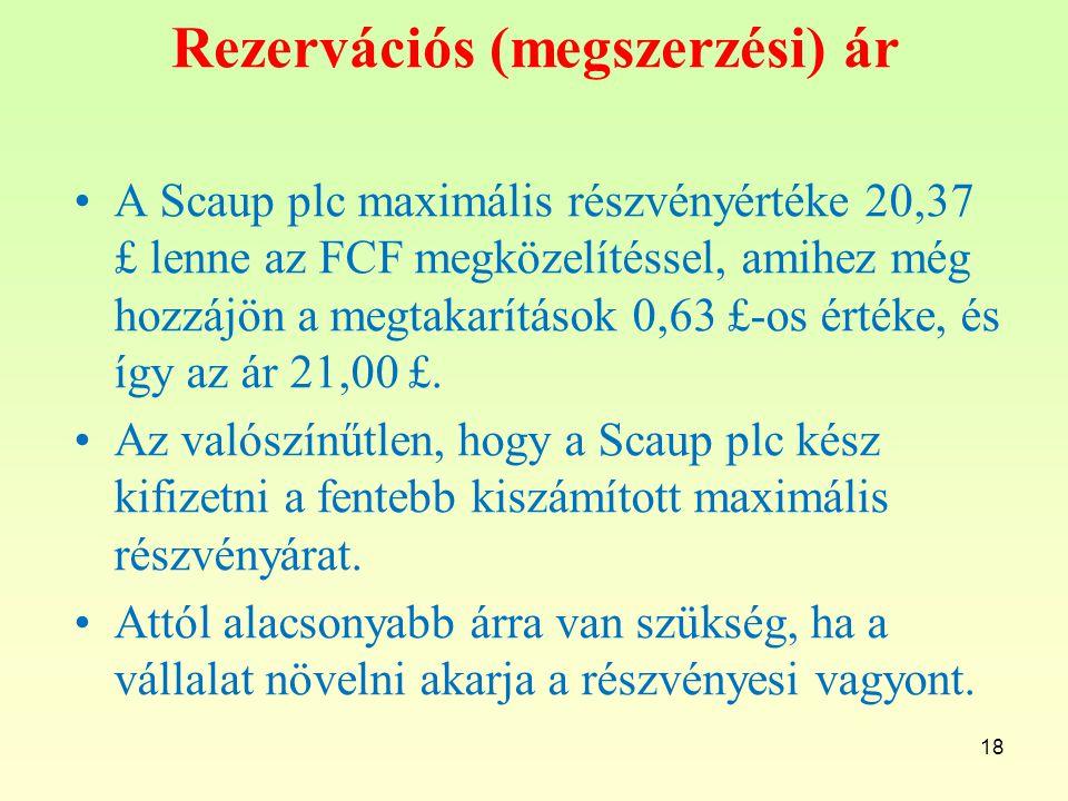 Rezervációs (megszerzési) ár A Scaup plc maximális részvényértéke 20,37 £ lenne az FCF megközelítéssel, amihez még hozzájön a megtakarítások 0,63 £-os értéke, és így az ár 21,00 £.