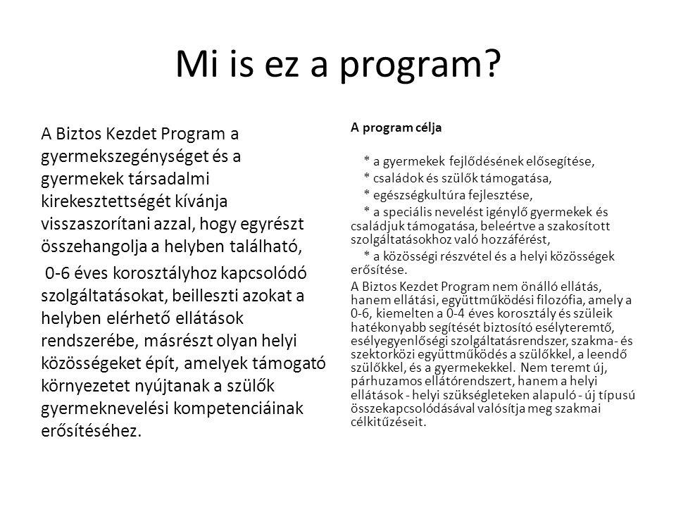 Mi is ez a program? A Biztos Kezdet Program a gyermekszegénységet és a gyermekek társadalmi kirekesztettségét kívánja visszaszorítani azzal, hogy egyr