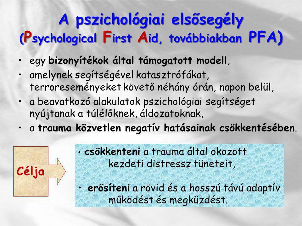 A pszichológiai elsősegély ( P sychological F irst A id, továbbiakban PFA) egy bizonyítékok által támogatott modell, amelynek segítségével katasztrófá